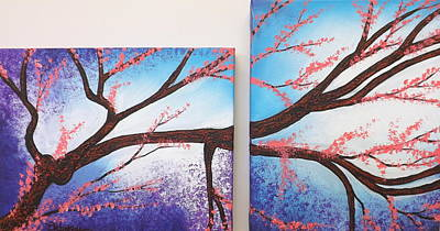 Painting - Asian Bloom Triptych 1 2 by Darren Robinson