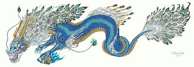 Extinct And Mythical Drawing - Asian Blue Lung by Jennifer  Anne Esposito