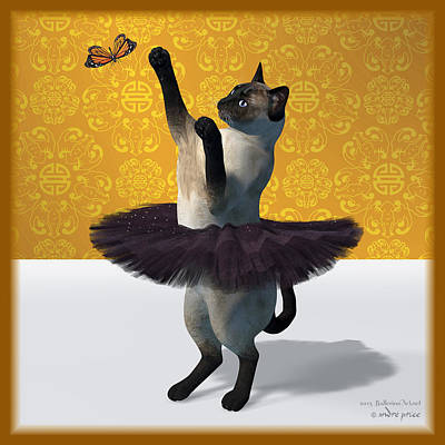 Asian Design Blue Siamese Ballet Cat On Paw-te  Art Print by Andre Price