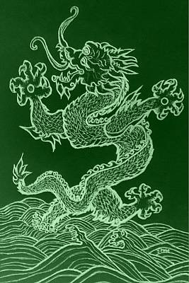 Kung Fu Drawing - Asian Dragon In Green by Jason Page