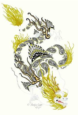 Black And White Fairy Drawing - Asian Dragon by Jennifer  Anne Esposito