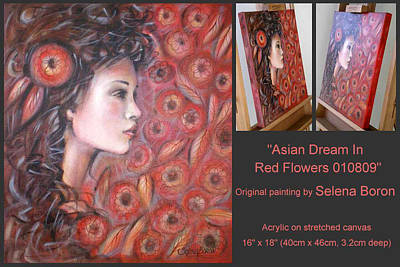 Art Print featuring the painting Asian Dream In Red Flowers 010809 Comp by Selena Boron