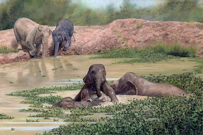 Painting - Asian Elephants - In Support Of Boon Lott's Elephant Sanctuary by Rachel Stribbling