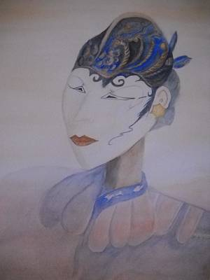 Gold Earrings Painting - Asian Mask by Marian Hebert