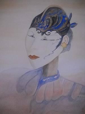 Asian Mask Art Print by Marian Hebert