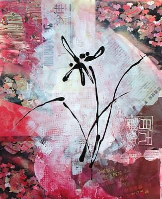 Newspaper Collage Painting - Asian Orchid by Louise Adams