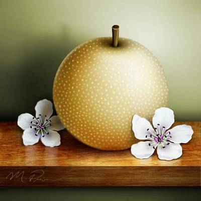 Pear Digital Art - Asian Pear With Blossoms by Michael Prince