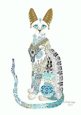 Bastet Drawing - Asian Porcelain Cat by Jennifer  Anne Esposito