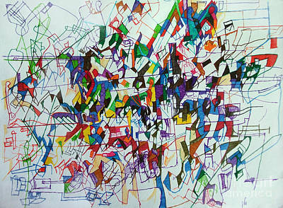Conceptual Abstraction Drawing - Asking To Start Again 2 by David Baruch Wolk