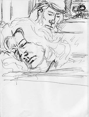 Judaica Drawing - Asleep On A Train by Phil Welsher