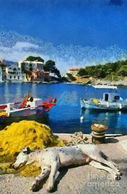 Asos Village In Kefallonia Island Art Print by George Atsametakis