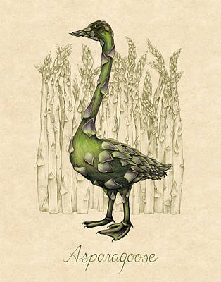 Asparagus Drawing - Asparagoose by Allison Rogers