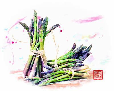 Asparagus Digital Art - Asparagus Bundles by Ken Evans