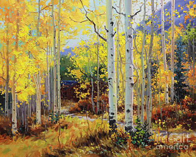 Contemporary Forest Painting - Aspen Cabin by Gary Kim