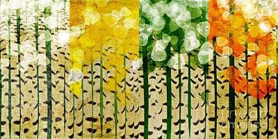 Digital Art - Aspen Colorado 4 Seasons Abstract by Andee Design