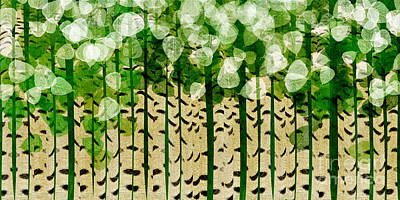 Digital Art - Aspen Colorado Abstract Panorama 2 by Andee Design