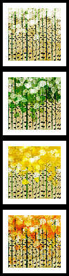Digital Art - Aspen Colorado Abstract Vertical 4 In 1 Collection by Andee Design
