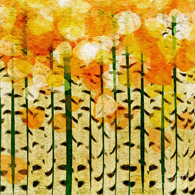 Digital Art - Aspen Colorado Painterly Fall Square by Andee Design