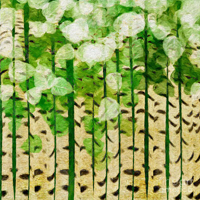 Digital Art - Aspen Colorado Painterly Summer Square by Andee Design