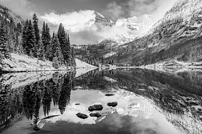 Perfect Christmas Card Photograph - Aspen Colorado's Maroon Bells In Black And White by Gregory Ballos