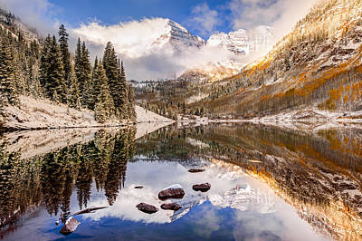 Perfect Christmas Card Photograph - Aspen Colorado's Maroon Bells With Rocks by Gregory Ballos