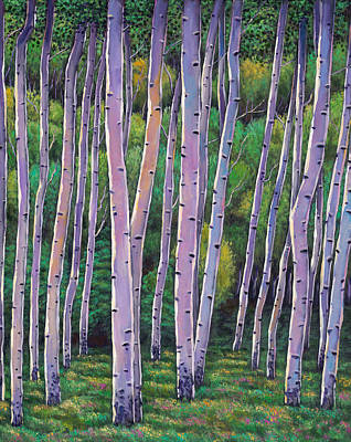 Birch Trees Painting - Aspen Enclave by Johnathan Harris