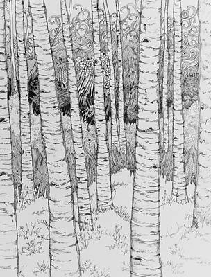 Drawing - Aspen Forest by Terry Holliday