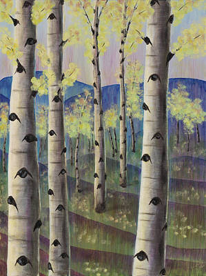 Aspen Trees Painting - Aspen Hills II by Elizabeth Golden