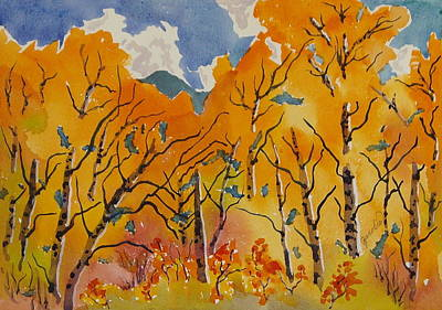 Painting - Aspen In Orange Steamboat Springs Colorado by Zanobia Shalks