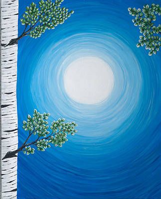 Painting - Aspen Moon 2 Triptych by Rebecca Parker
