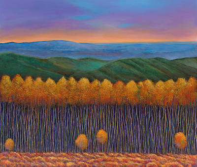 Autumn Scene Painting - Aspen Perspective by Johnathan Harris
