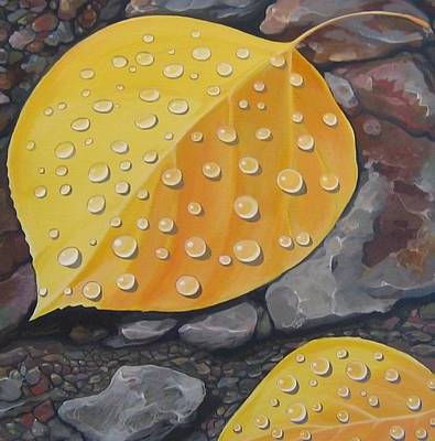 Leaf Painting - Aspen Rain by Hunter Jay