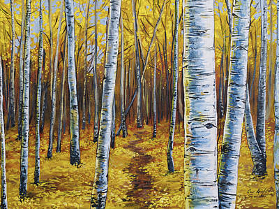 Fall Trees Painting - Aspen Trail by Aaron Spong