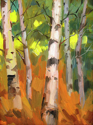 Light And Shadow Painting - Aspen Trees by Diane McClary
