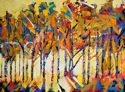 Aspen Trees Painting - Aspen Trees by Ron and Metro
