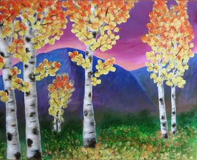 Aspens And Mountains IIi Print by Elizabeth Golden