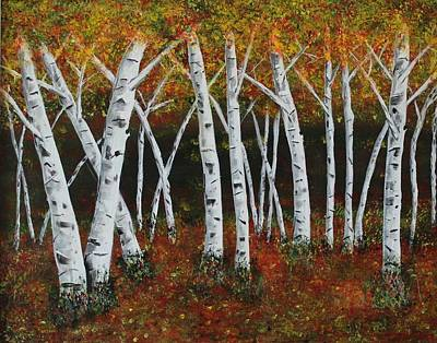 Art Print featuring the painting Aspens In Fall 1 by Melvin Turner