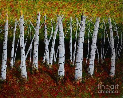 Art Print featuring the painting Aspens In Fall 2 by Melvin Turner