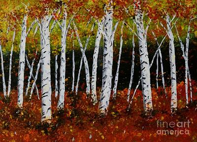 Art Print featuring the painting Aspens In Fall 3 by Melvin Turner