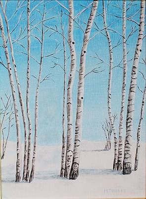 Art Print featuring the painting Aspens In Snow by Melvin Turner