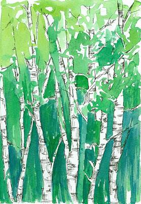 Painting - Aspens In The Green by Cathie Richardson