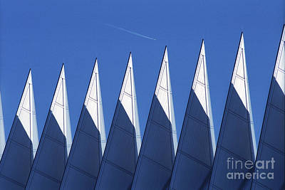 Photograph - aSPIREing Air Force Academy Chapel with Jet by Teri Brown