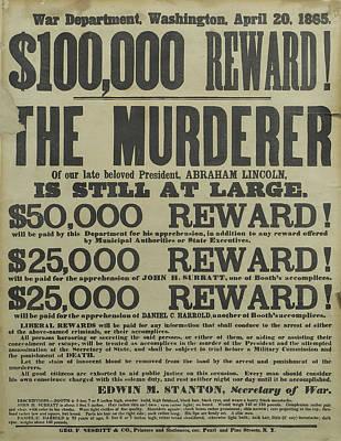 Assassination Of Abraham Lincoln Reward Art Print
