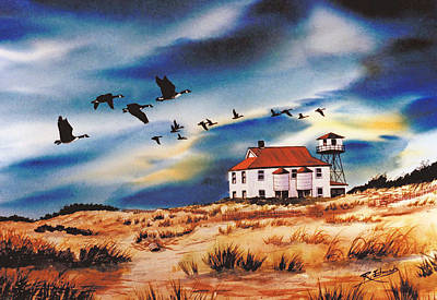 Nature Scene Painting - Assateague Coast Guard Station by Raymond Edmonds