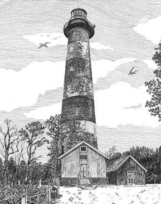 Lighthouse Drawing - Assateague Island Lighthouse by Stephany Elsworth