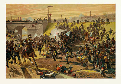 Dam Drawing - Assault On The Railway Dam Before Orleans By The First by French School