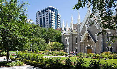 Mormon Temple Photograph - Assembly Hall In A City, Salt Lake by Panoramic Images