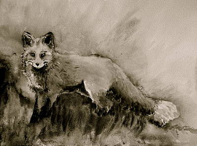 Pelts Painting - Assessing The Situation Black And White by Beverley Harper Tinsley