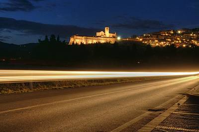 Assisi By Night Art Print by Luca Roveda
