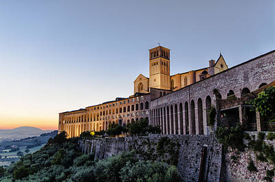 Assisi Church Photograph - St Francis Of Assisi At Dusk - Assisi Italy by Jon Berghoff